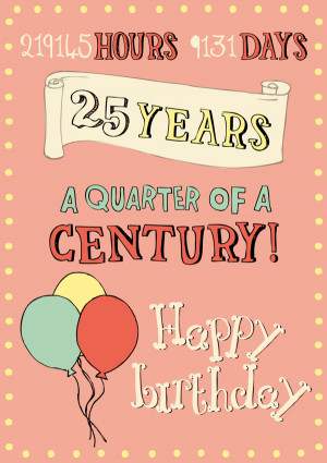 Custom Design - 25th Birthday Card