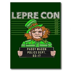 Funny Leprechaun Leprecon Mugshot Postcards