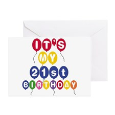 Balloons 21st Birthday Greeting Card for