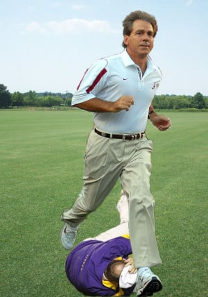 11 Examples of Nick Saban Stepping Over Things He Shouldn't