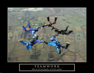 Teamwork-Skydivers II art print
