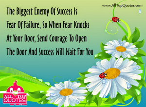 The Biggest Enemy of Success - Fear and Success Quotes in English