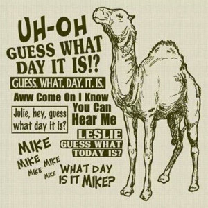 on a wednesday therefore we always go guess what day it is hump day ...