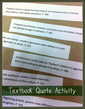 Textbook Quote Activity - Guest Blogger/Guest Upcyclist Series