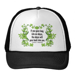 Nietzsche Quote If You Gaze Long into an Abyss Trucker Hats