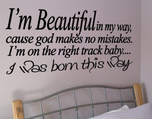 WALL ART BORN THIS WAY LADY GAGA QUOTE DECAL STICKER VINYL DECORATION ...