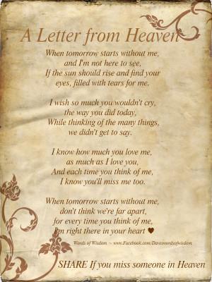 Letter from heaven Happy Birthday In Heaven Poem