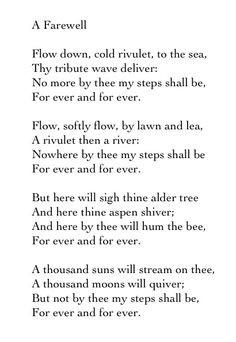 Farewell by Alfred Lord Tennyson. http://www.annabelchaffer.com/
