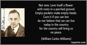 ... for the country will bring us no peace. - William Carlos Williams