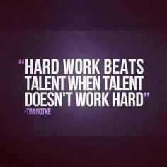 Hard work beats talent when talent doesn't work hard. More