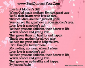 Love You Mom Quotes. .Cute Mother Son Sayings