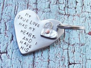 True Love Quote Metal Double Heart Riveted Keychain