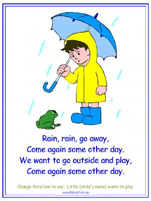 Rain, Rain Go Away Nursery Rhyme printable materials for a water cycle ...