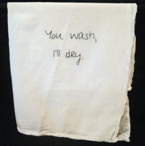 Embroidered flour sack kitchen towel,