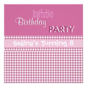 Invitation Party Cute Pink Check Girls Birthday 8 Custom Invite