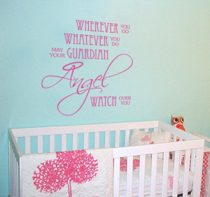 Nursery Baby Quote Decal Angel Prayer Children Vinyl Wall Decal Decor