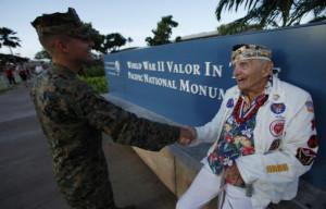 Pearl Harbor survivor Bodenlos shakes hands with U.S. Marine Sergeant ...