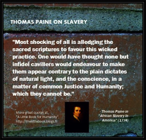 Thomas Paine on the approval of slavery in religions