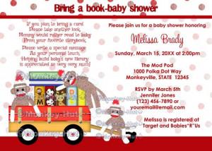 Bring a book baby shower invitation book shower sock monkey (DIGITAL ...