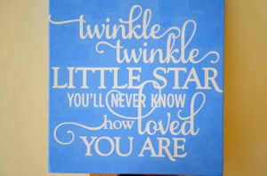 Twinkle Twinkle Little Star Quote Wooden Sign 12 x 12 Wall Decor