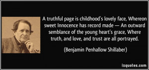 truthful page is childhood's lovely face, Whereon sweet Innocence ...