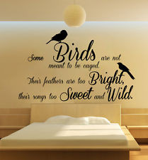 Quote - Some Birds Caged Bedroom Wall Art Free Squeegee! Living Room ...