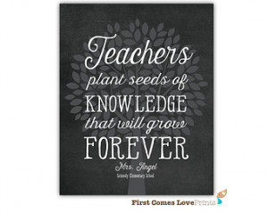 ... Plant Seeds of Knowledge Quote - Personalized Class Gift - Teacher