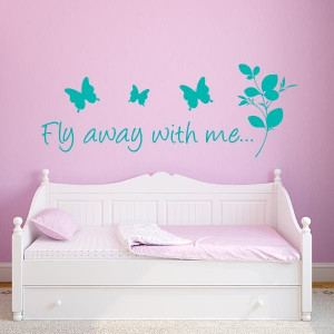 Butterfly Fly Away With Me Wall Decal Quote