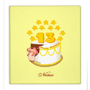 13 Year Old Birthday Cake Mouse Vinyl Binder