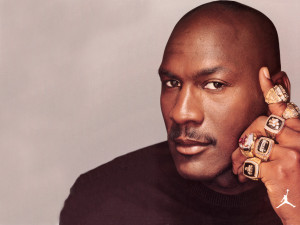 Michael Jordan with Championship rings