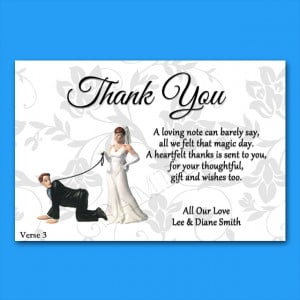 Details about Personalised Wedding Thank You Cards 4 Verses P10