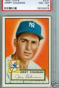 1952 Topps 237 Jerry Coleman Yankees psa 8 mint