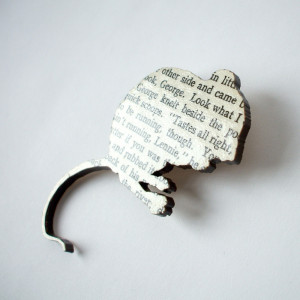 John Steinbeck - 'Of Mice and Men' original book page brooch