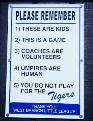 Little League Baseball Sign In West Branch, Mich. Advises Parents That ...