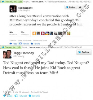 ... Your Own Caption. Mitt Romney, Ted Nugent, Tagg Romney And Twitter