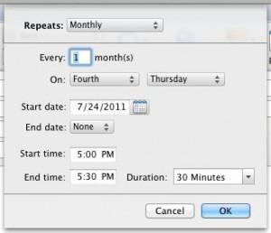 Set Calendar recurrance to 4th Thursday each month