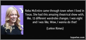 Reba McEntire came through town when I lived in Texas. She had this ...