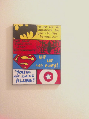 Custom Order 18 x 24 Canvas Wall Art: Kids Superhero Quotes, Comic ...