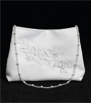 Beaded Floral Embroidery Flower Girl Purse or First Communion Purse