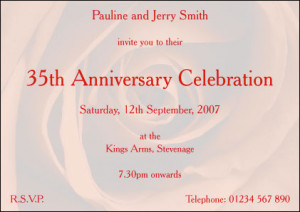 35th Wedding Anniversary Invitation - Style: Red - Single sided