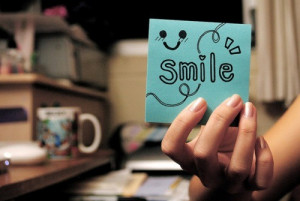 blue, quotes, cute, smile, words, notes, stickies