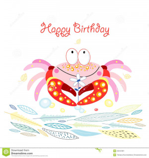... card with a funny pink crabs on a white background with blue