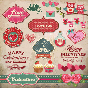 Romantic Valentine retro labels and decor vector 04