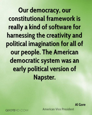 ... American democratic system was an early political version of Napster