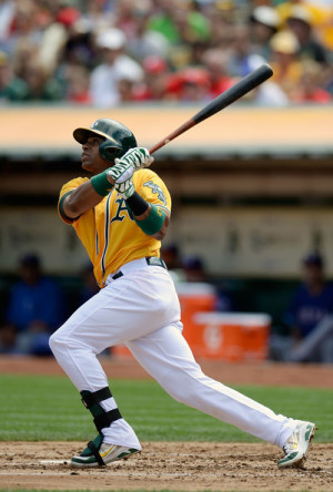 Yoenis Cespedes Yoenis Cespedes 52 of the Oakland Athletics hits a