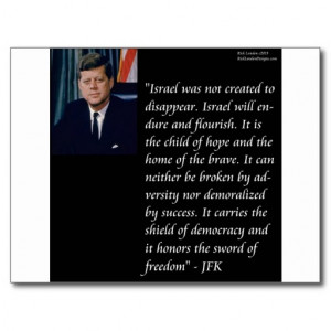 JFK & Famous Quote Re Israel Postcard
