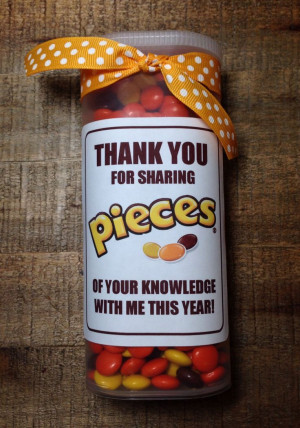 Gift - Reese's Pieces in a Crystal Light container...