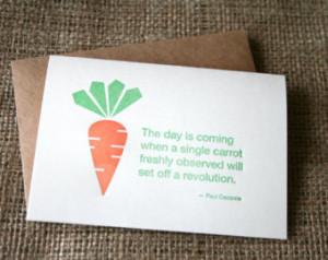 , carrot quote car d , letterpress vegetable , carrot gift , carrot ...