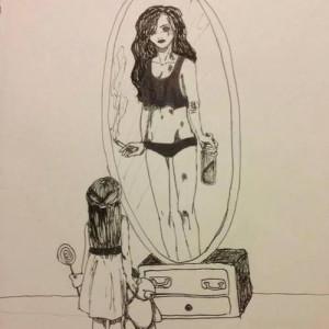drawing, fat, girl, grown, lolly, mirror, sad, skinny, smoking, teddy