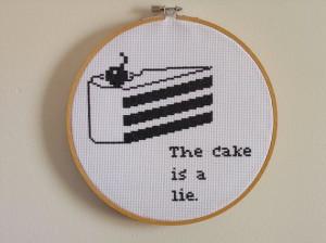 Portal quote cake cross stitch
